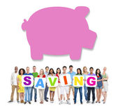 People Holding Saving with Piggy Bank — Stock Photo