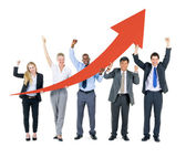 Business People with Growth arrow — Stock Photo