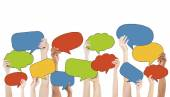 Group of Hands Holding Speech Bubbles — Stock Photo