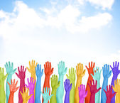 Colorful Hands Raised With Blue Sky — Stok fotoğraf