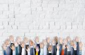 Diverse Hands Raised — Stock Photo