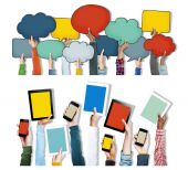 Hands Holding Digital Devices and Speech Bubbles — Stock Photo