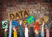 Hands Holding Symbols Data — Stock Photo
