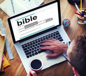 Man Reading the Definition of Bible — Stock Photo