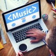 Laptop with Private Music Concept — Stock Photo #60037203