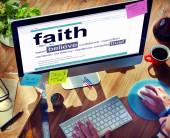 Man Reading the Definition of Faith — Stock Photo