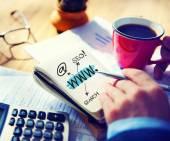 Man Writing Working WWW Seo Search — Stock Photo