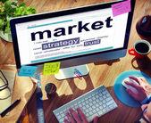 Man reading definition of Market — Stock Photo