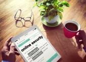 Man reading definition of Online Security — Stock Photo