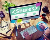 Computer with Shares Concept — Stock Photo
