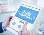 Tablet with Job Application Concept — Stock Photo