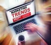 Laptop z trendy koncepcji marketingowej — Zdjęcie stockowe