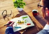 Man Brainstorming about Ideas Concept — Zdjęcie stockowe