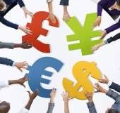 Hands Holding Euro symbols — Stock Photo