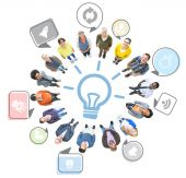 People Looking Up with Innovation Concepts — Foto de Stock