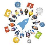 People and Rocket Symbol — Zdjęcie stockowe
