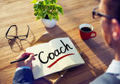 Man and Single Word Coach — Stock Photo