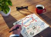 Man Sketching and Working on Innovation Concept — Stock Photo