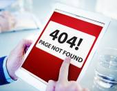 Man Using Tablet Page Not Found — Stock Photo