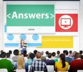 Answers Response Feedback Communication Seminar — Stock Photo