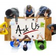 People Discussing About ask us — Stock Photo #60064063