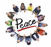 People Around Letter Peace — Stock Photo