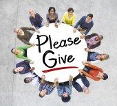 People Around Please Give — Stock Photo