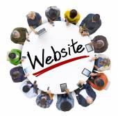 People Around Letter Website — Stock Photo