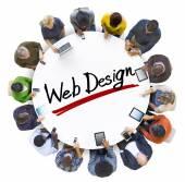 People Around Letter Web Design — Stock Photo