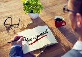 Man and a Word Management — Zdjęcie stockowe