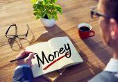 Man and Word Money — Stockfoto