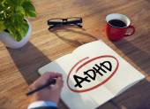 Hand and Single Word ADHD — Stock Photo