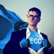 Superhero with Eco word on outfit — Stock Photo #60079805