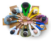 Group of People Hand Cupped — Stock Photo