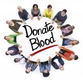 İnsanlar ve metinler kan bağışı — Stok fotoğraf