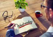 Man and Single Word Wednesday — Stock Photo