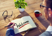 Man and Single Word Welcome — Stock Photo