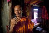 Monk monastery smoking — Stock Photo
