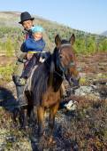 Mongolian Tsataan on Horse — Stock Photo