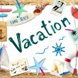 Vacation word and beach objects — Stock Photo #60085157
