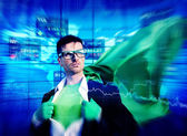 Superhero Businessman — Stock Photo