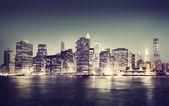 New York City Panorama at Night — Stock Photo