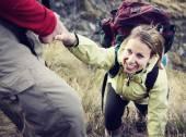 Wandelaar ondersteuning vrouw — Stockfoto
