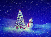 Christmas Tree and Snowman Outdoor — Foto Stock