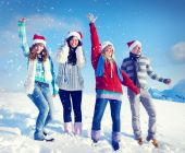 Friends Enjoyment Winter Holiday — Stock Photo