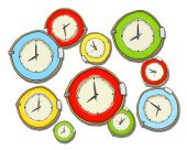 Multicolored Group of Clocks — Stock Photo