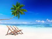 Paradise Beach and Beach Chairs — Stock Photo
