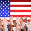 Arms Outstretched With North American Flag — Stock Photo #60095847