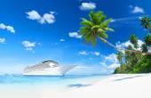 Lurxurious Cruise Ship By Beach — Stock Photo