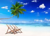 Tropical Beach with two chairs — Stock Photo